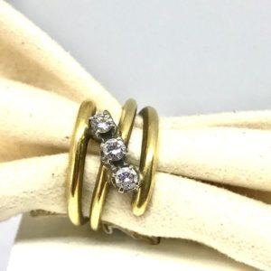 anello in oro giallo a spire con diamanti gioielli torino