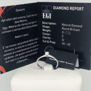 anello di oro bianco con diamante singolo gioielli torino