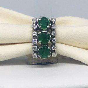 anello con tre smeraldi e diamanti gioielli torino