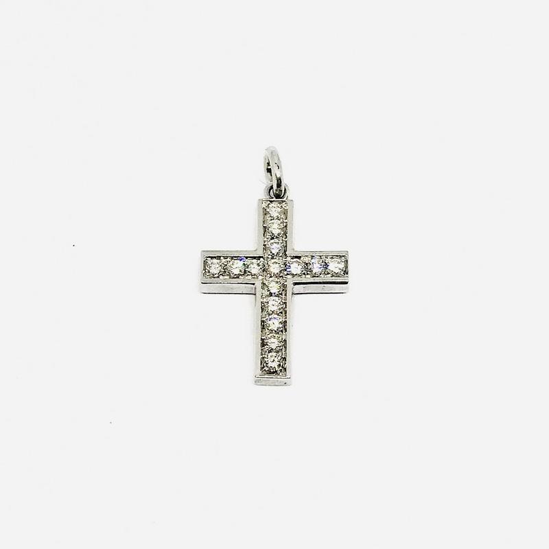 Ciondolo croce in oro bianco con diamanti