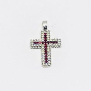 Ciondolo a forma di croce in oro bianco con ametiste e diamanti gioielli torino