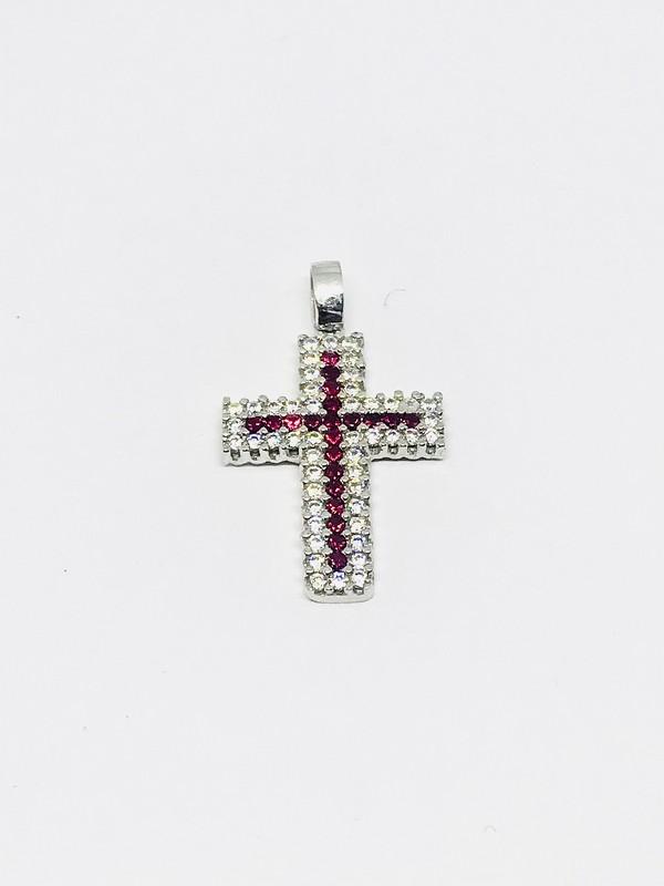Ciondolo croce con rubini e diamanti