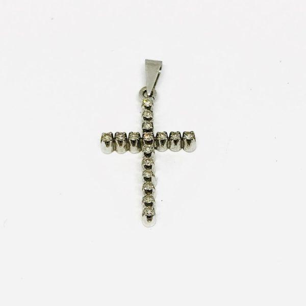 Ciondolo a forma di croce in oro bianco con pietre preziose gioielli torino