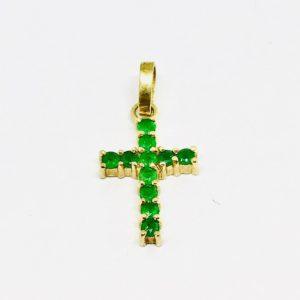 Ciondolo a forma di croce in oro giallo on smeraldi gioielli torino