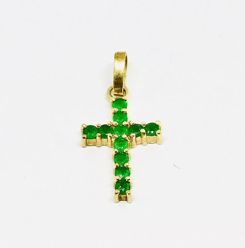 Ciondolo croce con smeraldi