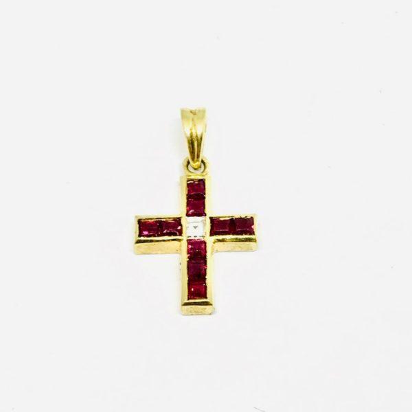 Ciondolo a forma di croce in oro giallo con rubini gioielli torino