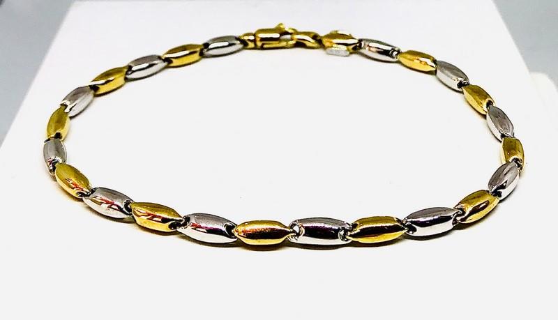 Bracciale oro giallo e bianco 18 carati