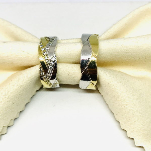 coppia di fedi in oro giallo e bianco gioielli torino