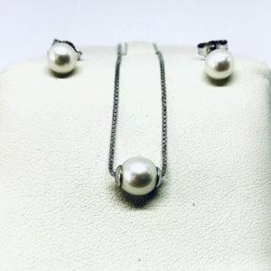 parure perla collana e orecchini gioielli torino
