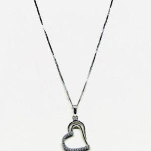 Collana con ciondolo pendente a forma di cuore stilizzato con pietre gioielli torino