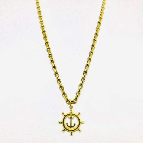 Collana in oro giallo con ciondolo a forma di timone gioielli torino