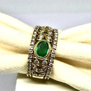 anello in oro giallo con smeraldo gioielli torino offerte d'oro