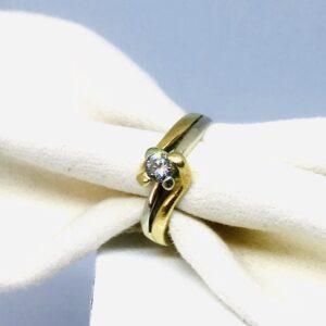 Anello in oro bianco e giallo con diamante offerte d'oro gioielli torino