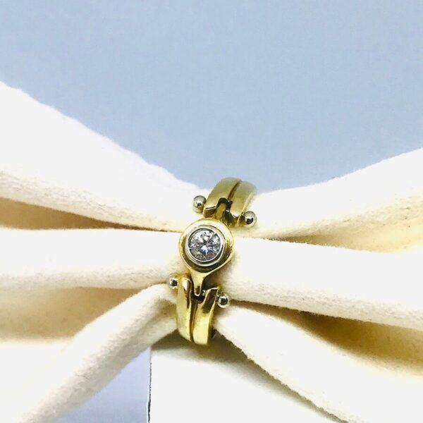 Anello in oro giallo 18 carati con diamante offerte d'oro gioielli torino