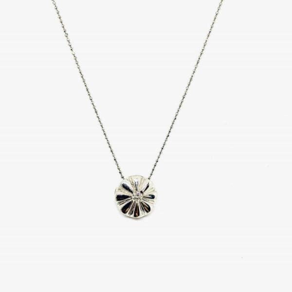 collana in oro bianco 18 carati con ciondolo e diamante offerte d'oro gioielli torino