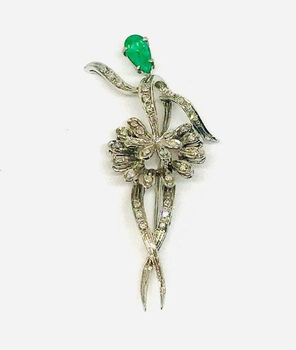 spilla in oro bianco con diamanti e smeraldo gioielli torino