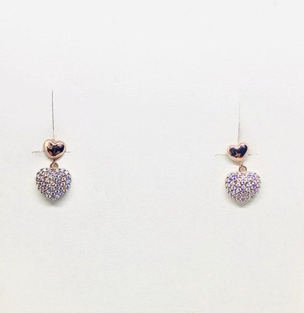 orecchini con pendente a forma di cuore in pietre gioielli torino