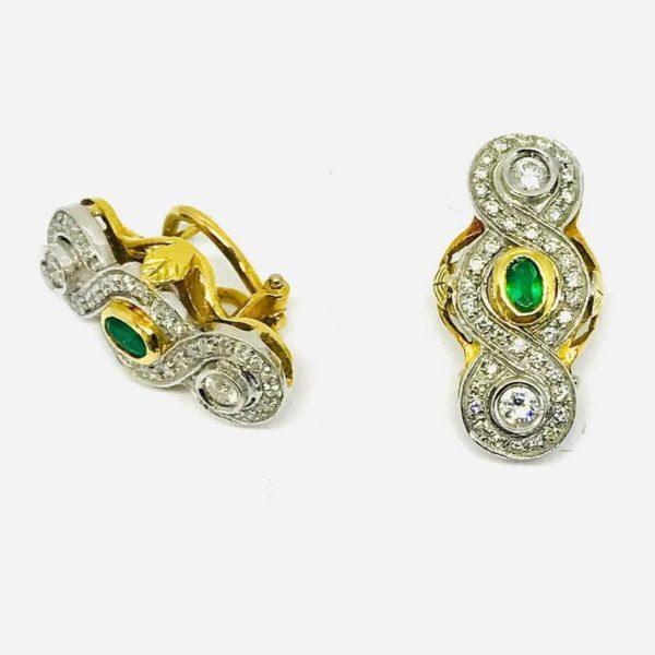 orecchini in oro giallo a 18 carati con diamanti e pietra verde gioielli torino