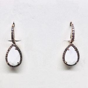 orecchini con pietra bianca pendente gioielli torino