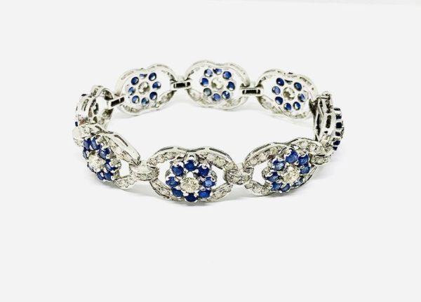 bracciale oro bianco con diamanti e zaffiri gioielli torino