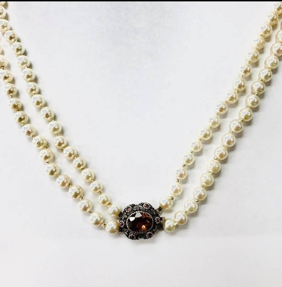 Collana di perle con gancio oro