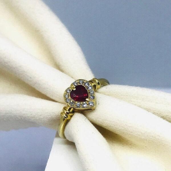 Anello in oro giallo 18 carati a forma di cuore con diamanti e rubino- Offerte d'oro gioielli torino