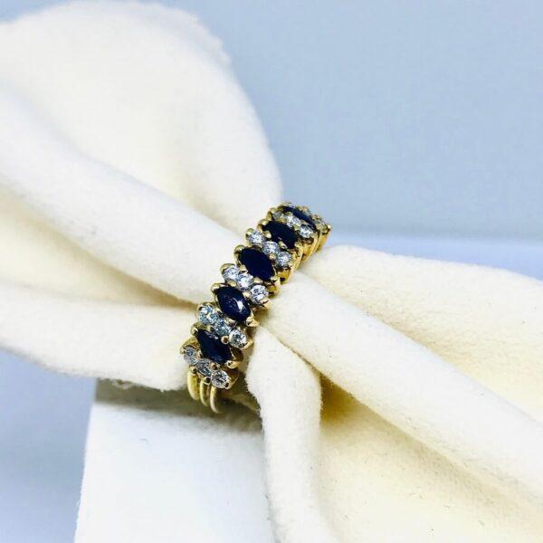 anello in oro giallo con lapislazzuli e diamanti gioielli torino offerte d'oro
