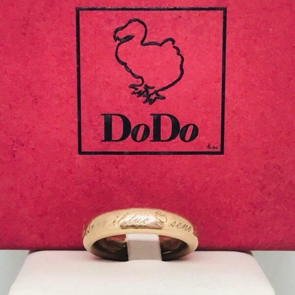 anello in oro giallo 18 carati Dodo Mariani con iscrizione. Offerte d'oro gioielli torino
