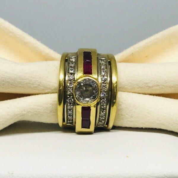 anello in oro giallo 18 carati con rubini. offerte d'oro gioielli Torino