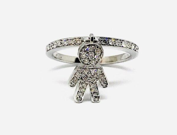 anello oro bianco 18 carati con ciondolo bambino e diamanti. Grammi 4,17. gioielli torino offerte d'oro