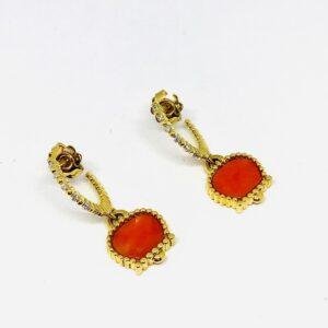 orecchini Chante Clair in oro giallo a 18 carati e corallo. offerte d'oro gioielli torino