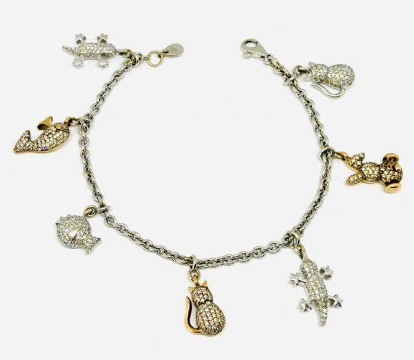 Bracciale in oro bianco 18 carati con ciondoli e diamanti carati 1,99. grammi 24,81 offerte d'oro gioielli torino