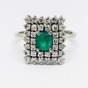anello oro bianco 18 carati 5 con smeraldi carati 0,60 e diamanti H/H carati 0,38. offerte d'oro gioielli torino