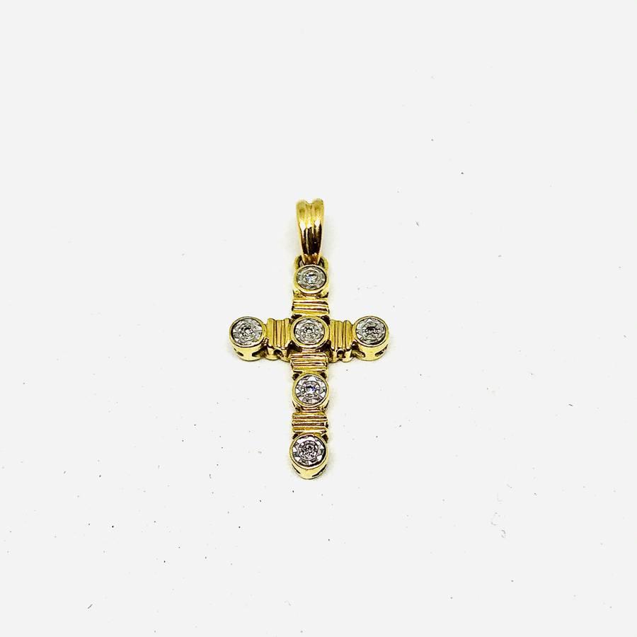 Ciondolo croce con diamanti