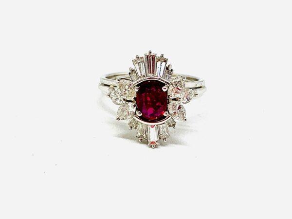 anello con dia navette+ baguette e rubino gioielli torino offerte d'oro