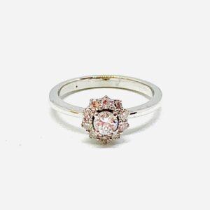 anello in oro bianco con margherita diamanti gioielli torino