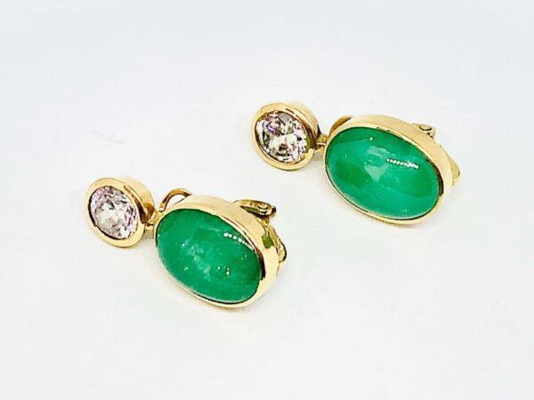 orecchini in oro con corniola verde gioielli torino offerte d'oro