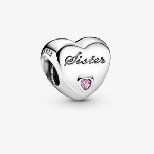 Charm in argento a forma di cuore con inciso la scritta Sister. Gioielli Torino offerte d'oro.