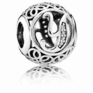 Charm Pandora in argento a forma di pallina vintage con intagliato l'iniziale della lettera Y. Gioielli Torino offerte d'oro