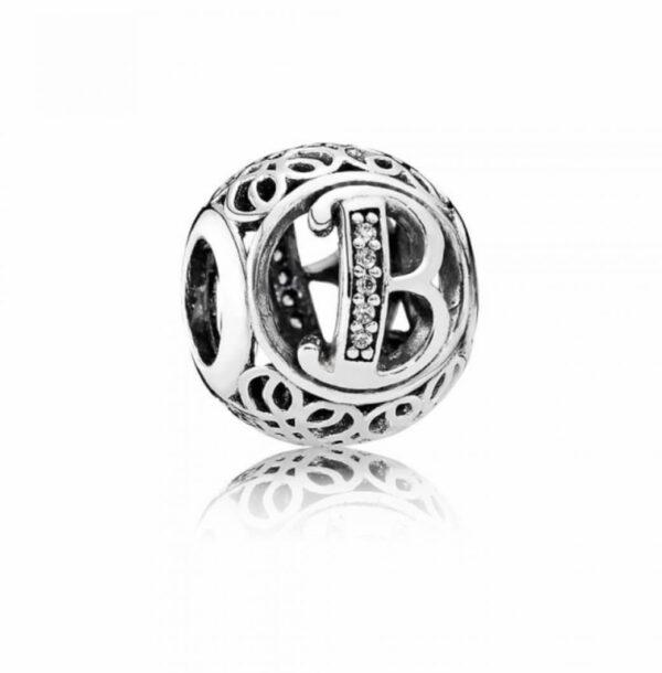 Charm Pandora in argento 925 a forma di pallina vintage con intagliato l'iniziale della lettera B Gioielli Torino offerte d'oro.