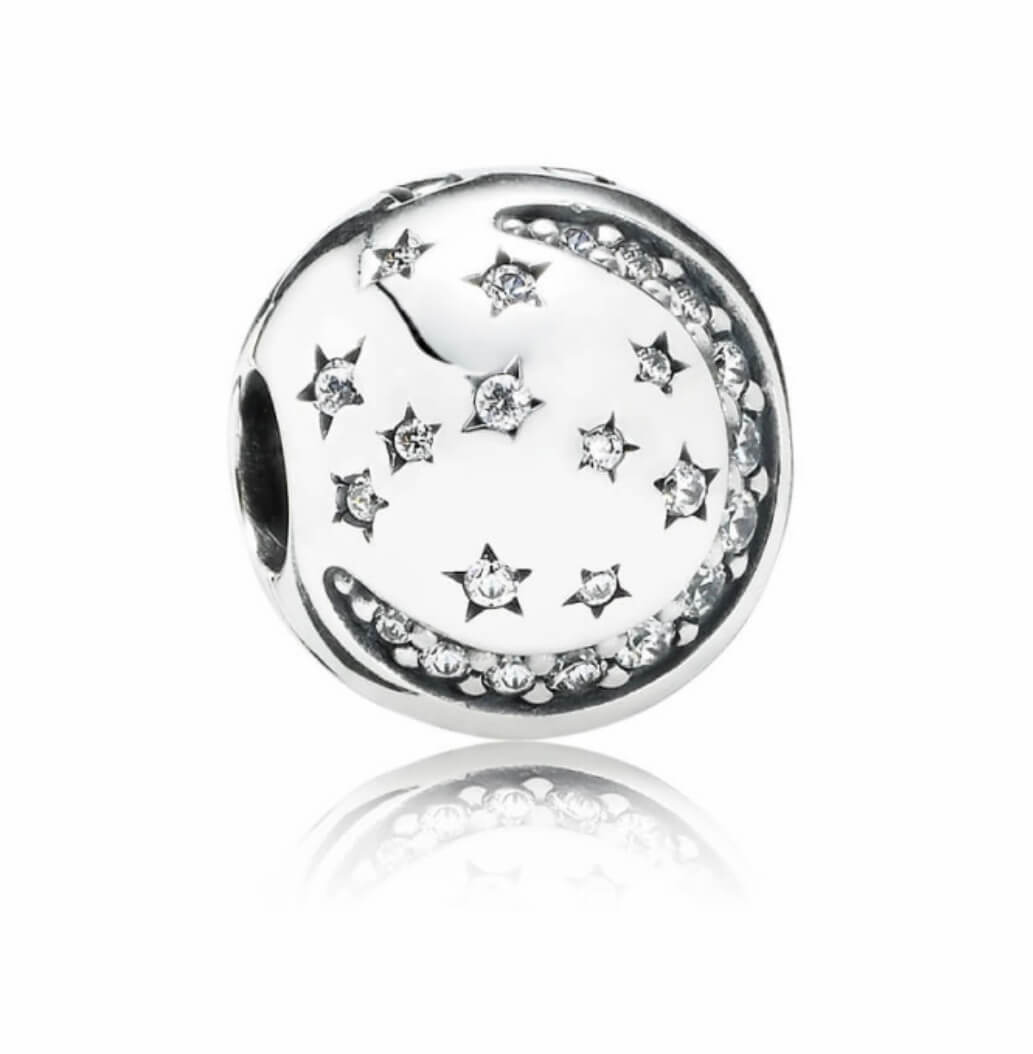 Charm Pandora pallina con luna e stelle